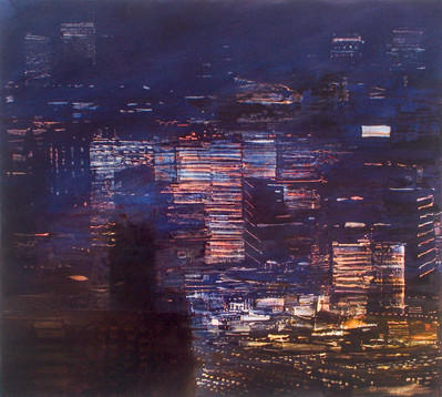 "JOSEPH SIDDIQI ""City Lights 6"" 2006 oil on canvas 36 x 40 in. / 91 x 101 cm"