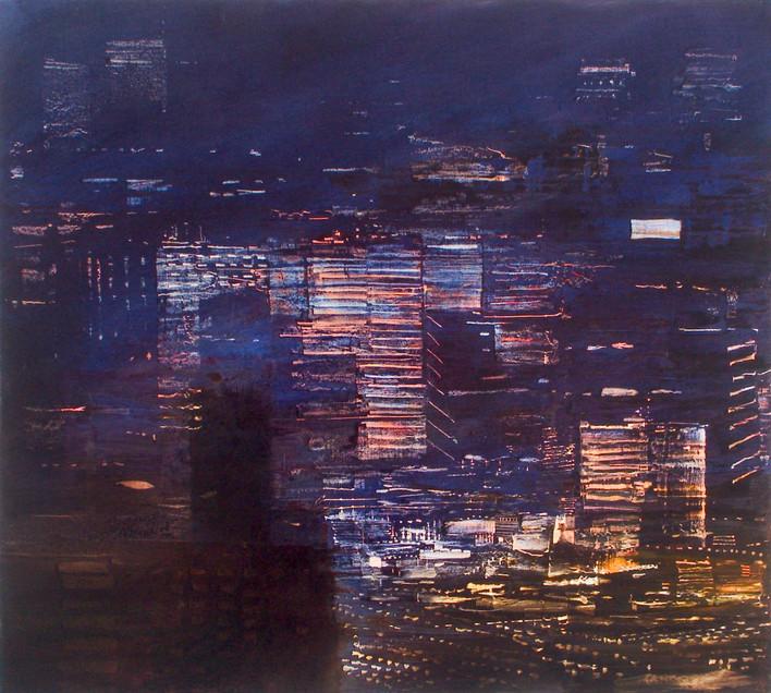 "JOSEPH SIDDIQI ""City Lights 6"" oil on canvas 36 x 40 in. / 91 x 101 cm"