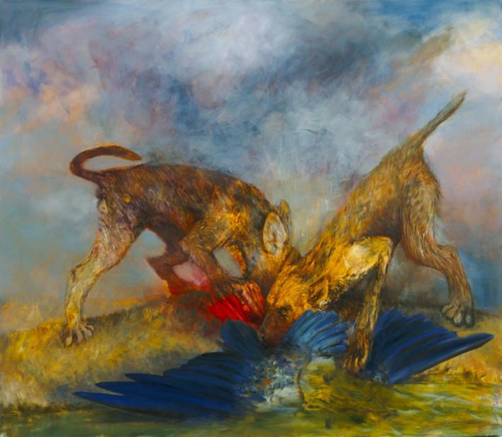 "JOSEPH SIDDIQI ""Harbinger III"" oil on canvas 84 x 96 in. / 213 x 244 cm"