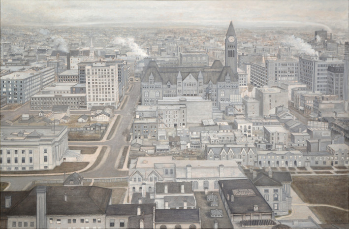 "JOSEPH SIDDIQI ""Toronto (ca. 1929)"" oil on linen 33 x 50 in. / 84 x 127 cm"