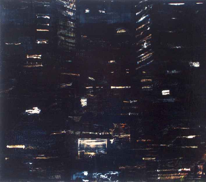 "JOSEPH SIDDIQI ""Night View 4"" oil on canvas 22 x 25 in. / 56 x 64 cm"
