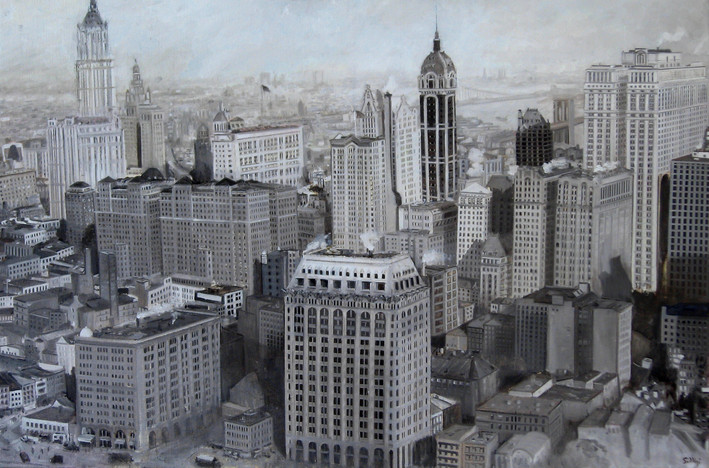 "JOSEPH SIDDIQI ""New York 1919"" oil on linen 33 x 50 in. / 84 x 127 cm"