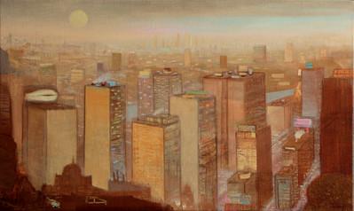 "JOSEPH SIDDIQI ""Autumn Evening"" 2013 oil on linen 18 x 30 in. / 46 x 76 cm"