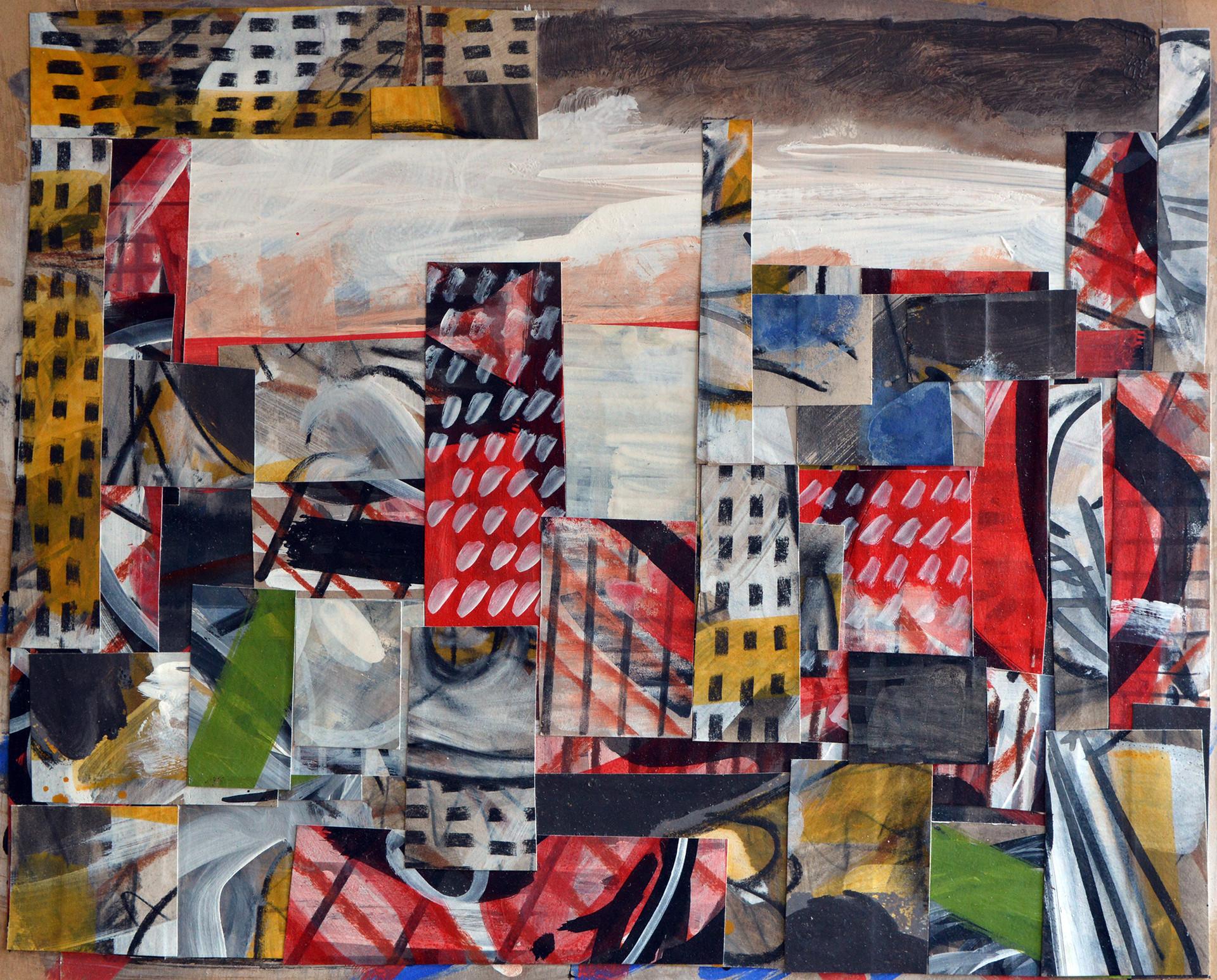 "JOSEPH SIDDIQI ""Transition 4""  mixed media collage 16 x 20 in. / 41 x 51 cm"
