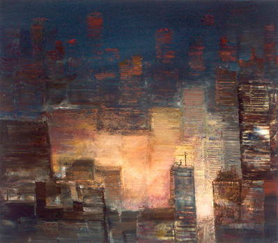 "JOSEPH SIDDIQI ""City Lights 4"" 2005 oil on canvas 22 x 25 in. / 56 x 64 cm"
