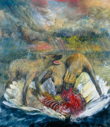 """JOSEPH SIDDIQI """"Marauders III"""" 2003 oil on canvas 96 x 84 in. / 244 x 213 cm"""