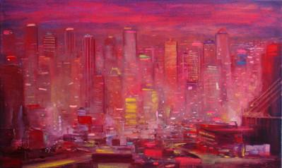 "JOSEPH SIDDIQI ""Deep Red"" 2012 oil on linen 18 x 30 in. / 46 x 76 cm"