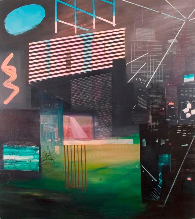 """JOSEPH SIDDIQI """"Future City 1"""" oil on linen 87 x 78 in. / 221 x 198 cm"""