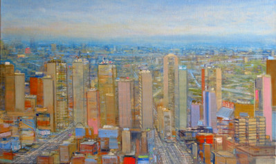 "JOSEPH SIDDIQI ""Tall City"" 2012 oil on linen 18 x 30 in. / 46 x 76 cm"