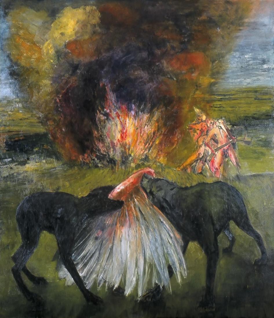 """JOSEPH SIDDIQI """"Marauders I"""" oil on canvas 96 x 84 in. / 244 x 213 cm"""