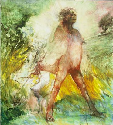 """JOSEPH SIDDIQI """"Kicking Bull"""" 2005 oil on canvas 40 x 36 in. / 102 x 91 cm"""