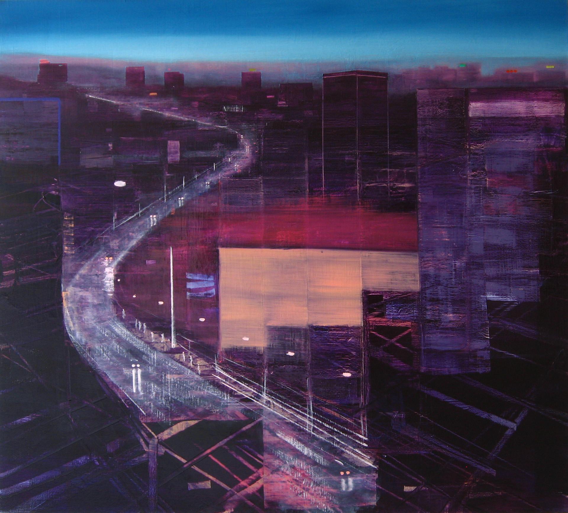 "JOSEPH SIDDIQI ""Night City 10"" oil on linen 45 x 55 in. / 114 x 140 cm"