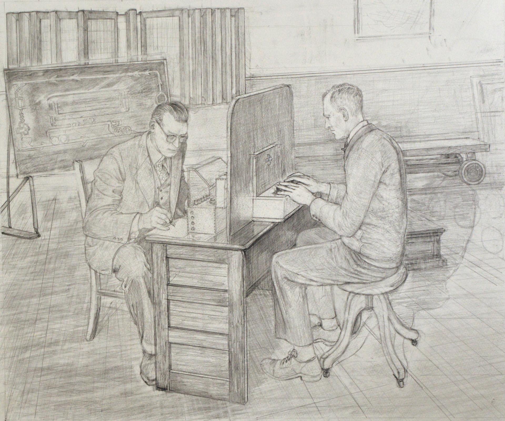 "JOSEPH SIDDIQI ""Receiver Transmitter""  pencil on paper 20 x 24 in. / 51 x 61 cm"
