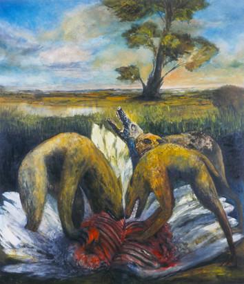 """JOSEPH SIDDIQI """"Marauders II"""" 2003 oil on canvas 96 x 84 in. / 244 x 213 cm"""
