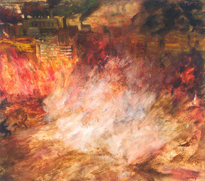 """JOSEPH SIDDIQI """"Blow Out"""" 2005 oil on canvas 22 x 25 in. / 56 x 64 cm"""
