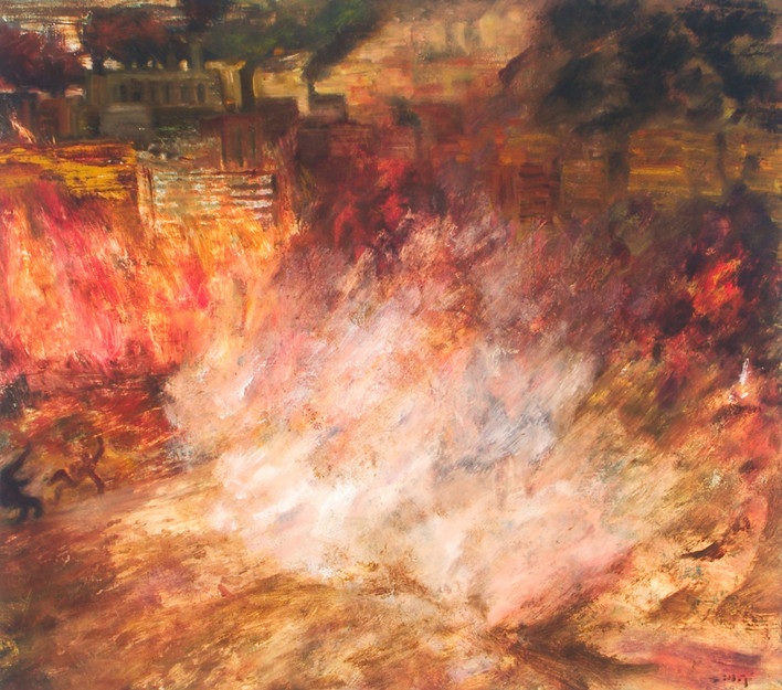 """JOSEPH SIDDIQI """"Blow Out"""" oil on canvas 22 x 25 in. / 56 x 64 cm"""