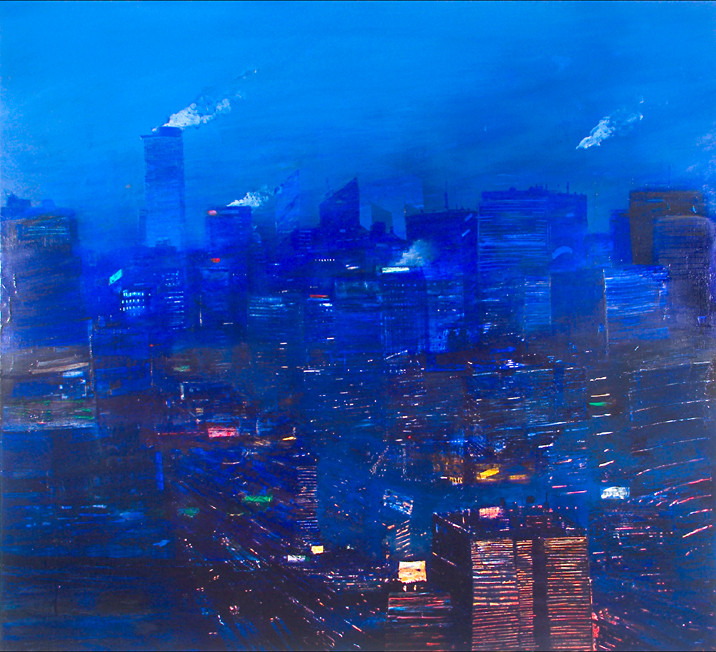 "JOSEPH SIDDIQI ""Night City"" oil on canvas 63 x 70 in. / 160 x 178 cm"