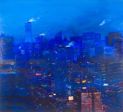 "JOSEPH SIDDIQI ""Night City"" 2007 oil on canvas 63 x 70 in. / 160 x 178 cm"
