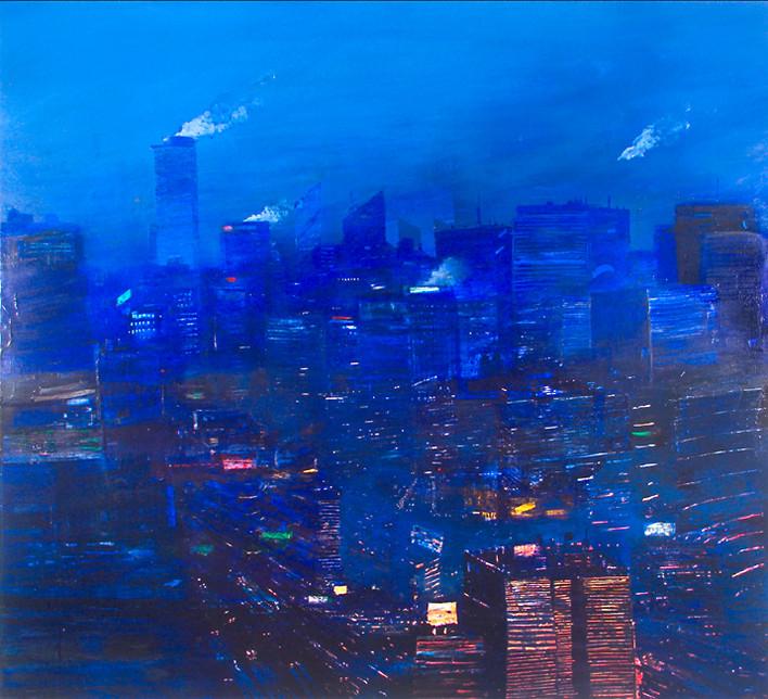 "JOSEPH SIDDIQI ""Night City"" oil on canvas 63 x 70 in. / 160 x 178 cm"