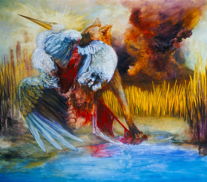 "JOSEPH SIDDIQI ""Marauders IV"" 2004 oil on canvas 84 x 96 in. / 213 x 244 cm"