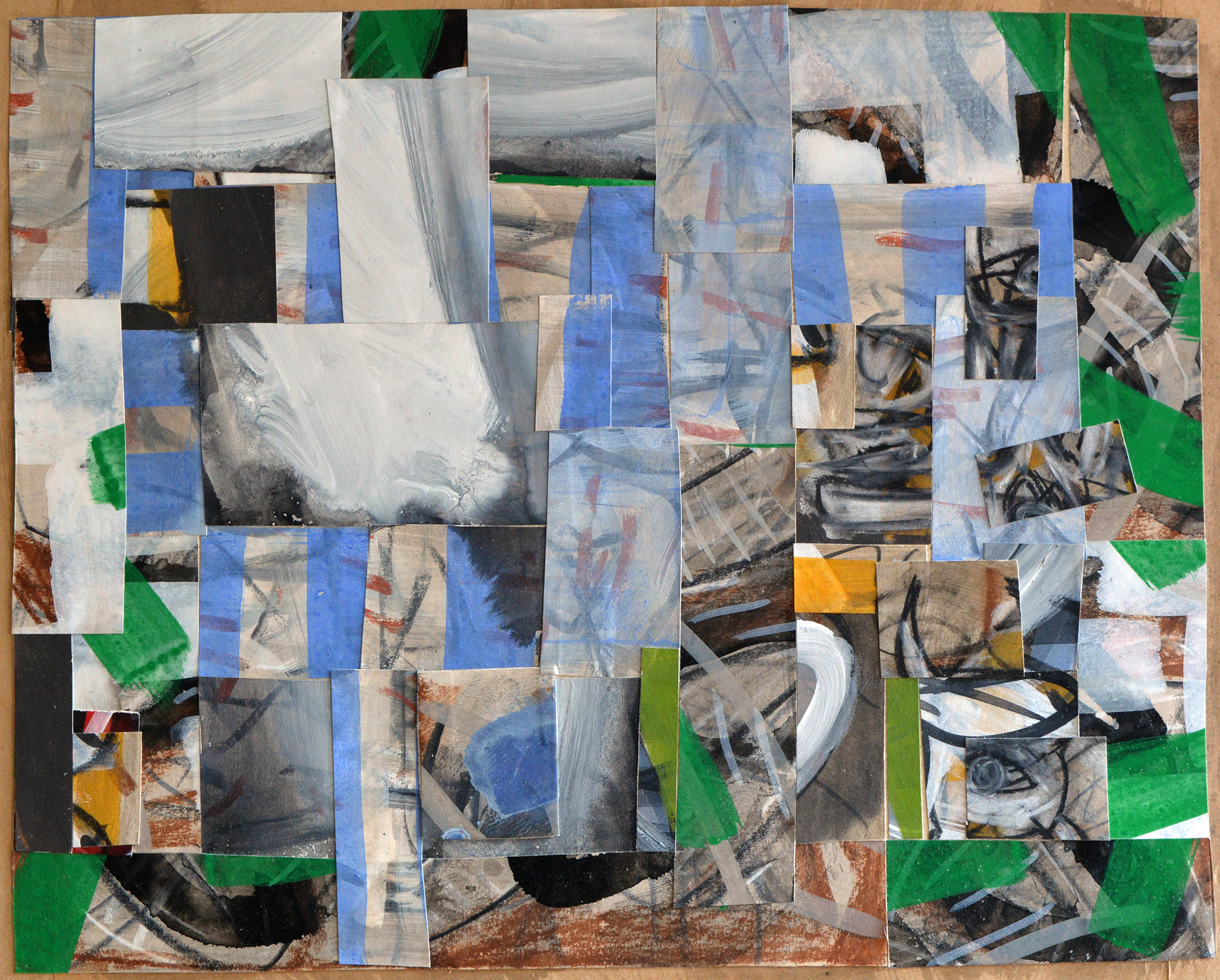 "JOSEPH SIDDIQI ""Transition 1""  mixed media collage 16 x 20 in. / 41 x 51 cm"