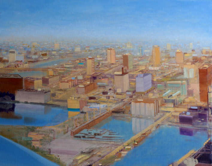 "JOSEPH SIDDIQI ""Water City"" oil on linen 33 x 42 in. / 84 x 107 cm"