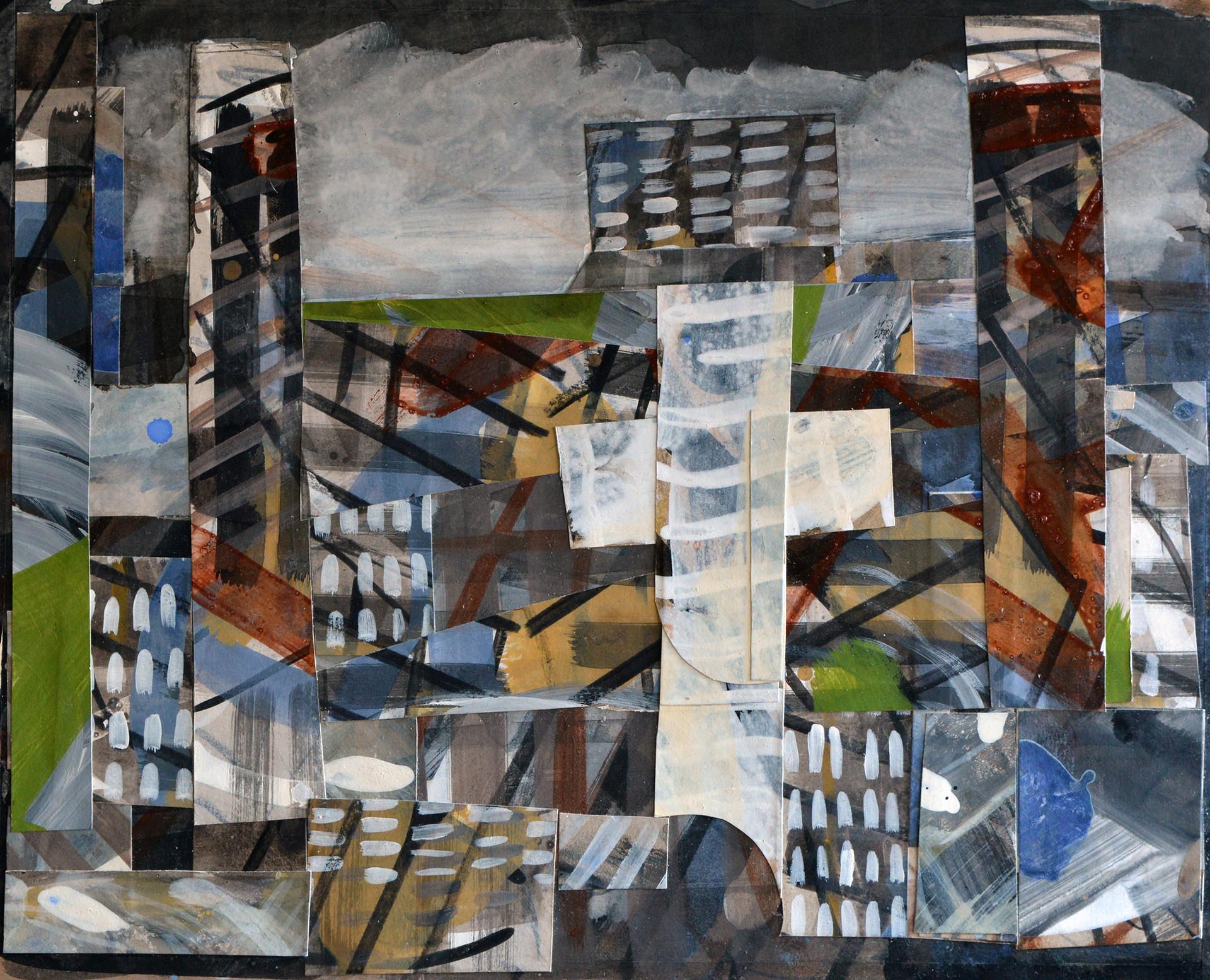 "JOSEPH SIDDIQI ""Transition 3"" mixed media collage 16 x 20 in. / 41 x 51 cm"