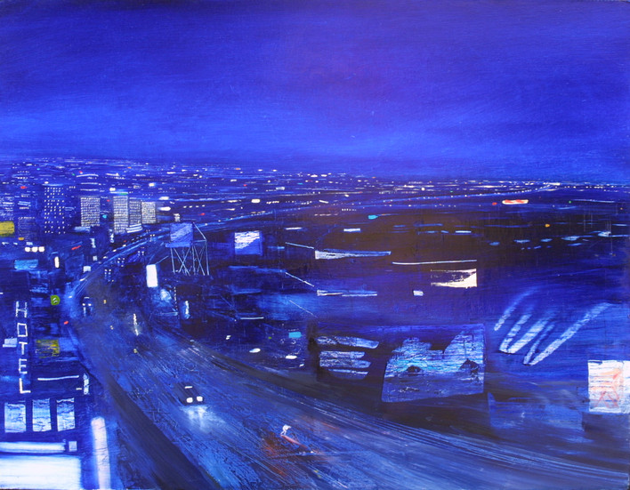 "JOSEPH SIDDIQI ""Night City 4"" oil on canvas 42 x 54 in. / 107 x 137 cm"