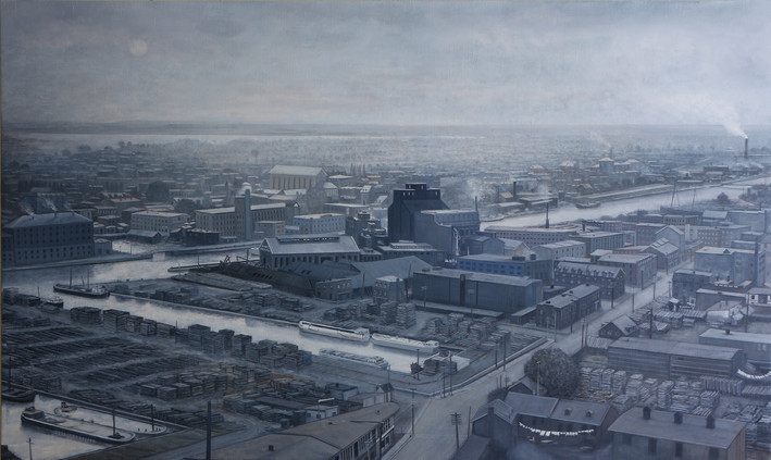 "JOSEPH SIDDIQI ""Montréal 1896"" oil on linen 36 x 60 in. / 91 x 152 cm"