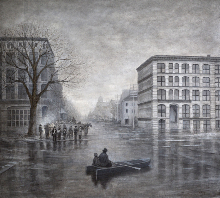 "JOSEPH SIDDIQI ""Crossing Victoria Square (1886)"" oil on linen 36 x 40 in. / 91 x 102 cm"