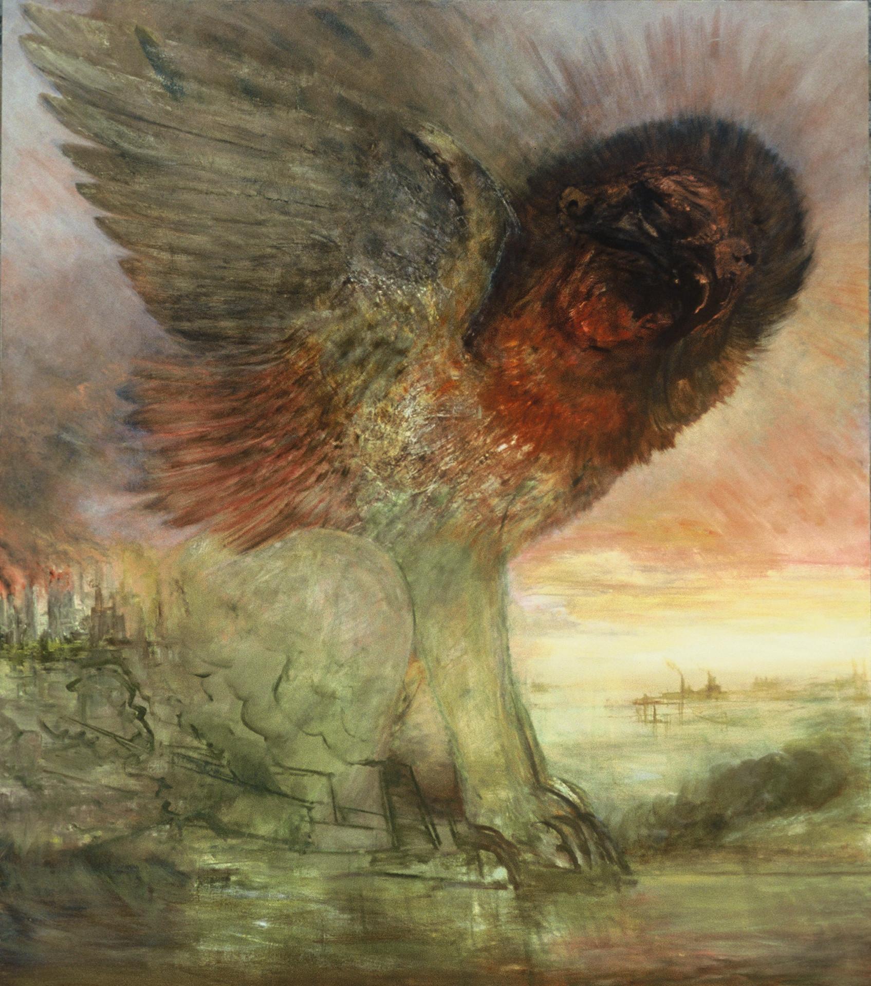 """JOSEPH SIDDIQI """"New Empire Lion"""" oil on canvas 96 x 84 in. / 244 x 213 cm"""
