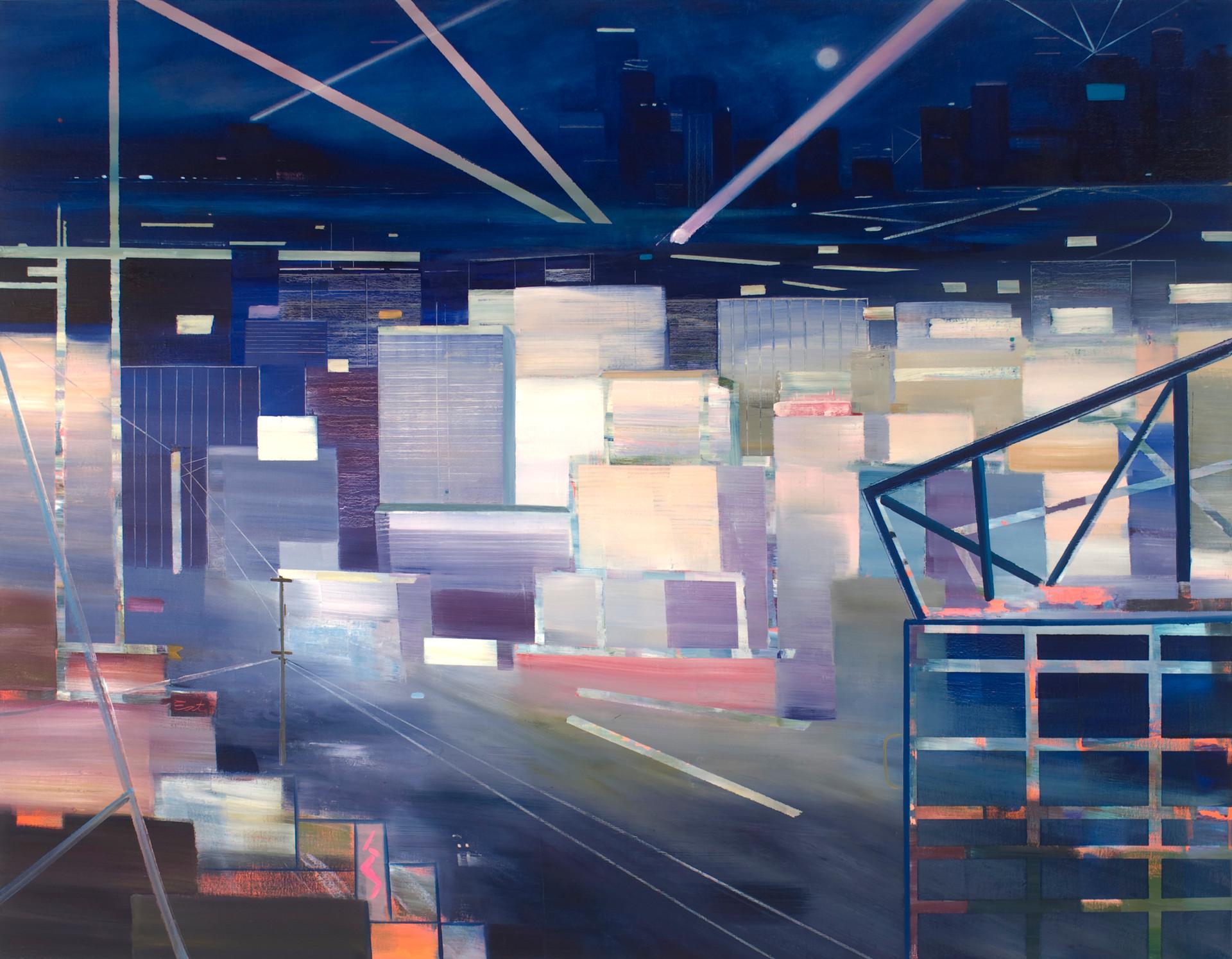 "JOSEPH SIDDIQI ""Geo-City"" oil on linen 70 x 90 in. / 178 x 229 cm"