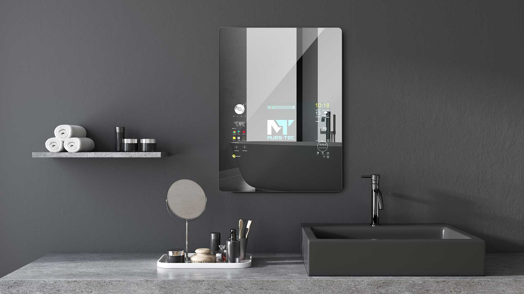 Start your morning with the Mues-Tec Smart Mirror - whether you prefer Music, News or the latest Styling App - this Smart Mirror can do it all!