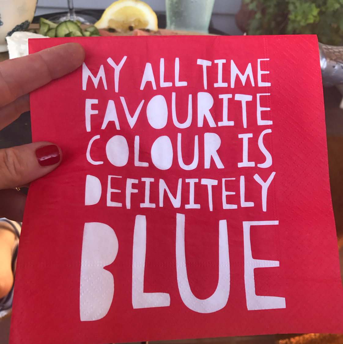 red napkin fave color blue