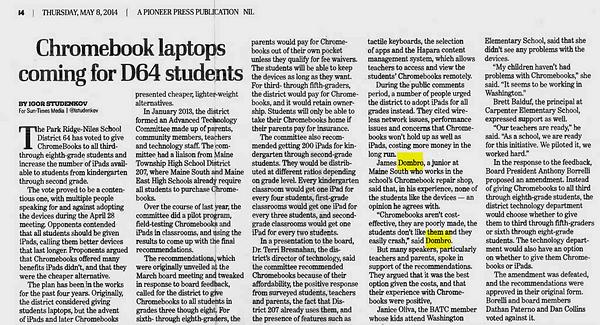 James Chromebook Pinoeer Press Article.p