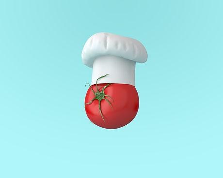 Chef hat with tomato concept on pastel b
