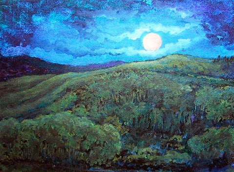 Full Blue Moon Wolf Mountain