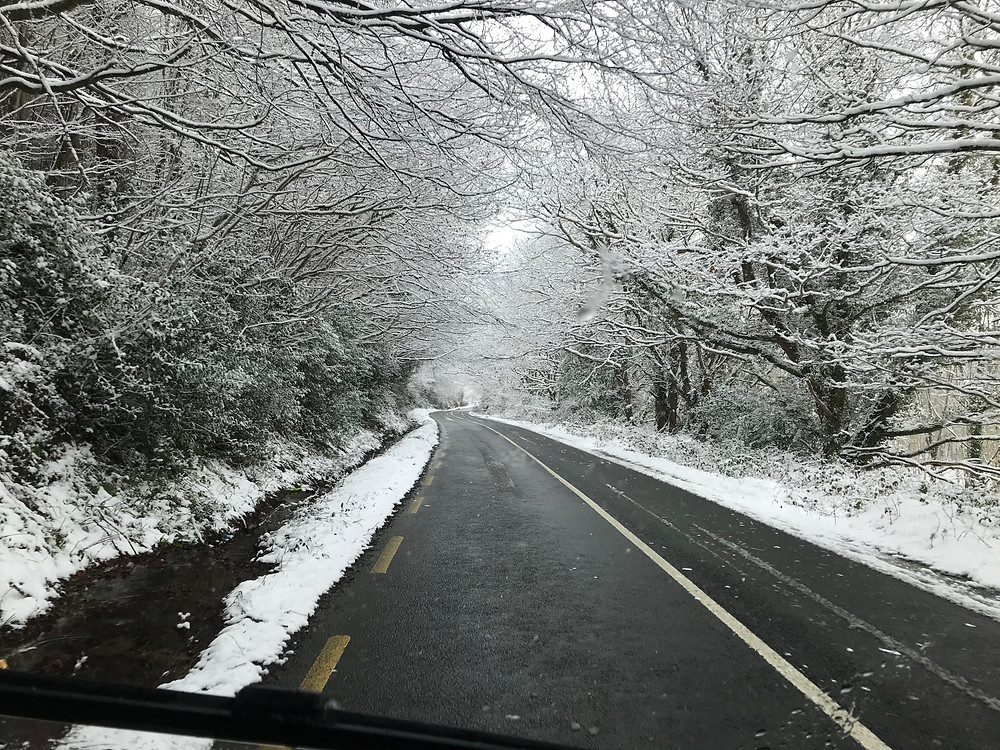 The snow on the way up to Wicklow mountains