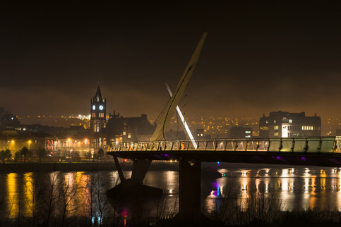 Derry Peace Bridge at Night