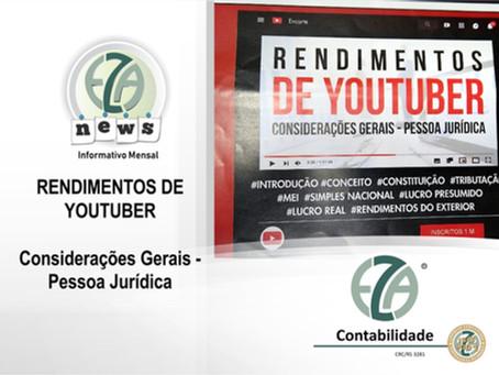 RENDIMENTOS DE YOUTUBER CONSIDERAÇÕES GERAIS - PESSOA JURÍDICA