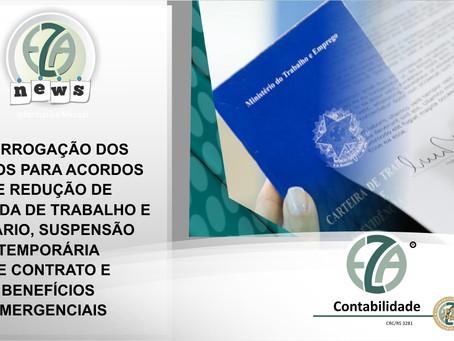 PRAZOS PARA ACORDOS DE REDUÇÃO DE JORNADA E SALÁRIO, SUSPENSÃO TEMPORÁRIA E BENEFÍCIOS EMERGENCIAIS