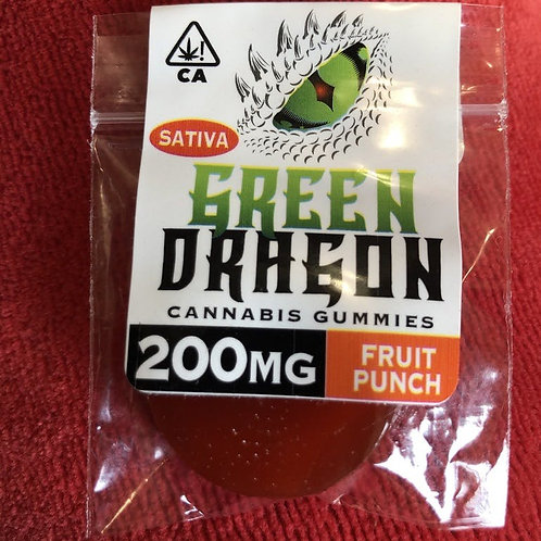 Green Dragon Gummie - Fruit Punch - Sativa - 200MG