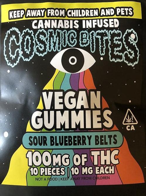 Cosmic Bites - Sour Blueberry Belts - Vegan Gummies - 100Mg Thc