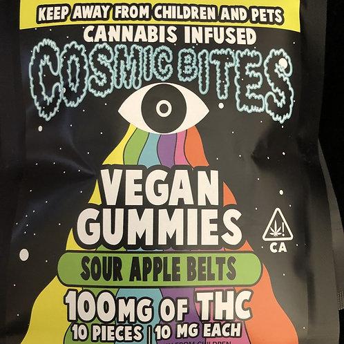 Cosmic Bites - Sour Apple Belts - 100Mg Thc - Vegan