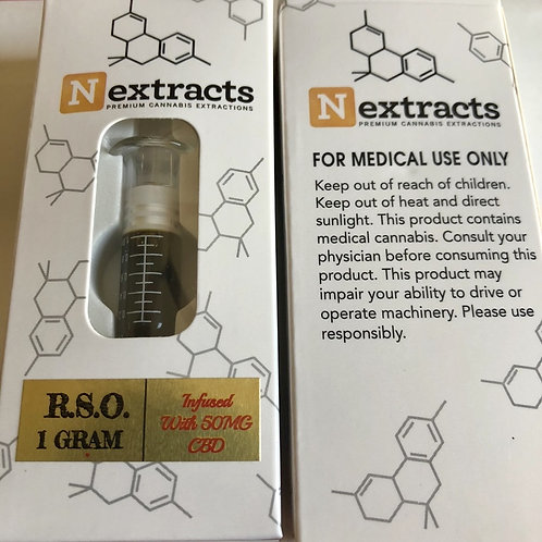 Rick Simpson Oil - Nextracts 1 Gram R.S.O. Infused with 50 MG CBD