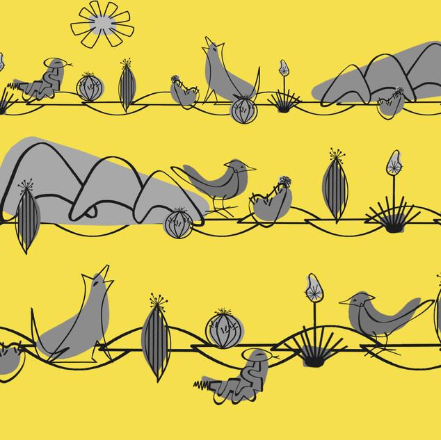 Desert Midcentury Modern Grays on Yellow