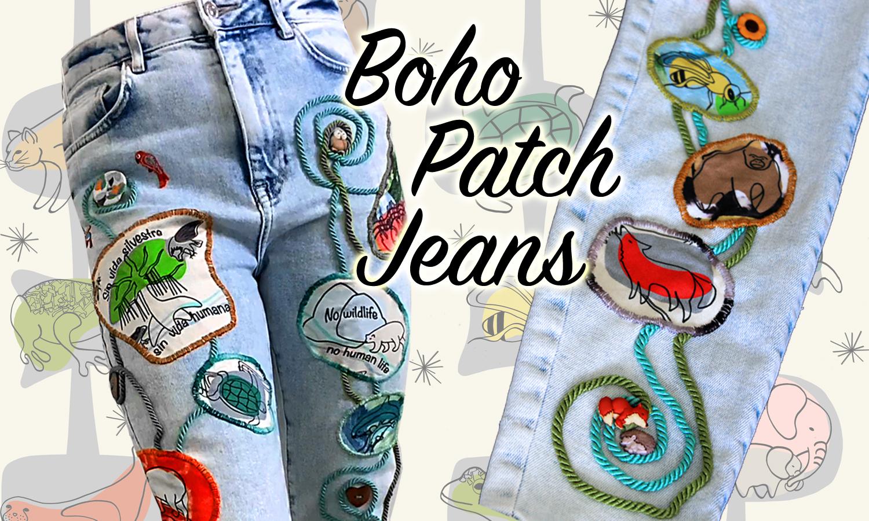Boho Wildlife Patch Jeans