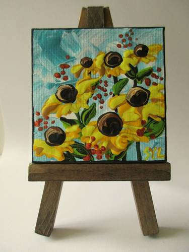 mini painting on easel
