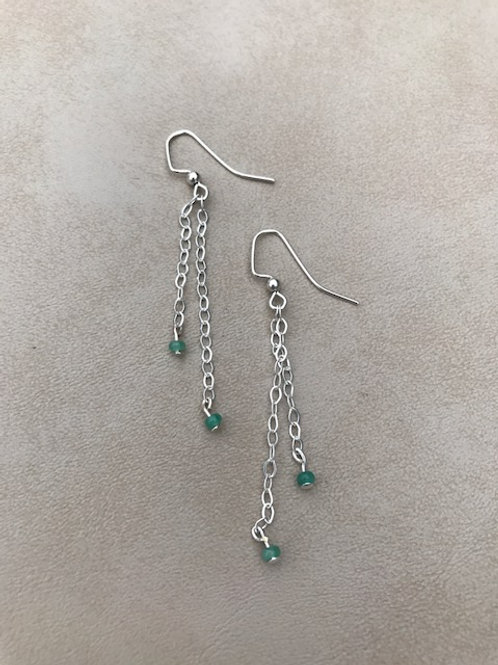 Genuine Emerald Bead Earrings