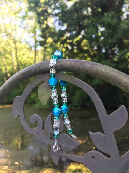 Blue, Green, Clear Bead Bracelet